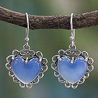 Sterling silver heart earrings, 'Harmony of Love' - Fair Trade Jewelry Sterling Silver with Chalcedony Hearts