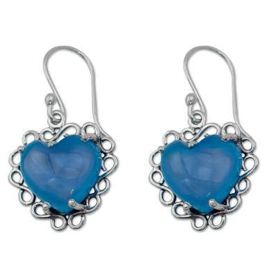 Fair Trade Jewelry Sterling Silver with Chalcedony Hearts