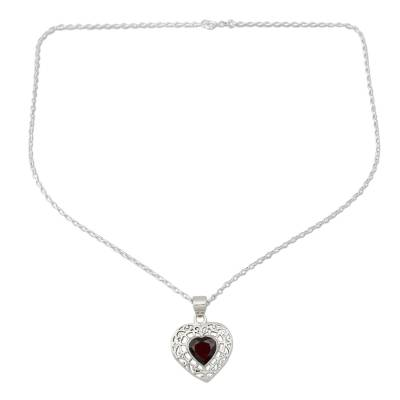 Garnet and Silver Heart Pendant Necklace