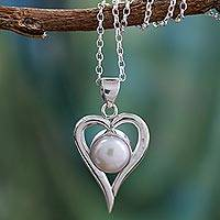 Cultured pearl heart necklace, 'Love Is Pure' - Artisan Crafted Heart Necklace Sterling Silver and Pearl