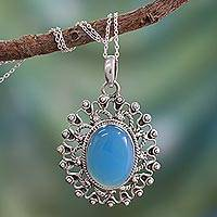Chalcedony pendant necklace, 'Ancient Blue Sun' - Hand Made Sterling Silver and Chalcedony Necklace