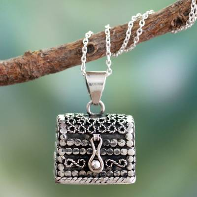 Sterling silver locket necklace, 'Prayer Chest' - Sterling Silver Locket Necklace