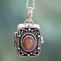 Moonstone locket pendant, 'Secret Prayer' (India)