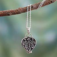 Sterling silver locket necklace, 'Prayer of My Heart' - Heart Shaped Sterling Silver Locket Necklace
