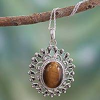 Tiger's eye pendant necklace, 'Tawny Sun' - Hand Crafted Sterling Silver and Tigers Eye Pendant Necklace