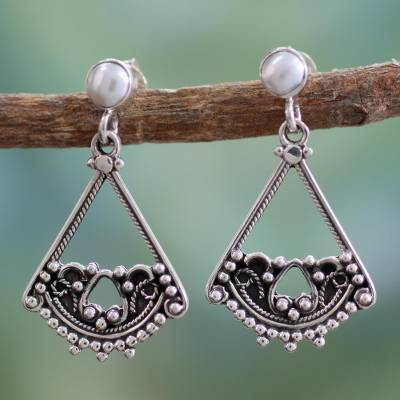 Cultured pearl dangle earrings, 'Whispers of Love' - Fair Trade Sterling Silver and Pearl Dangle Earrings
