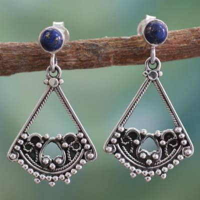Lapis lazuli dangle earrings, 'Whispers of Love' - Lapis lazuli dangle earrings