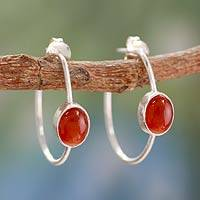 Onyx half hoop earrings, 'Contemporary Red' - Modern Minimalist Red Onyx Earrings