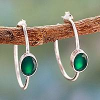 Onyx half hoop earrings, 'Contemporary Green' - Modern Minimalist Green Onyx Earrings