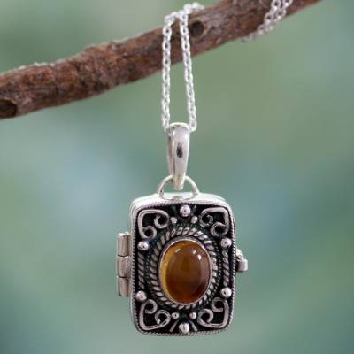 Citrine locket pendant necklace, 'Secret Prayer' - Citrine locket pendant necklace