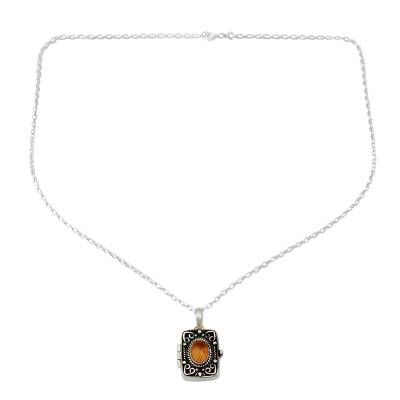 Citrine locket pendant necklace