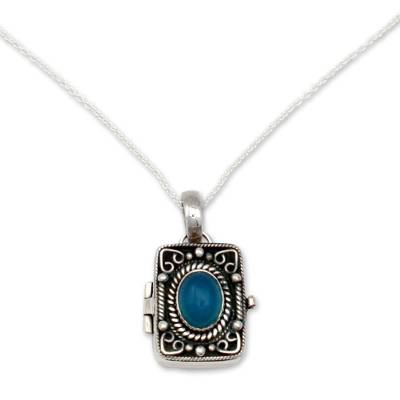 Hand Made Sterling Silver and Chalcedony Locket Necklace