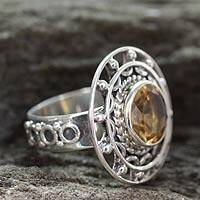 Citrine cocktail ring, 'Delhi Radiance' - Sterling Silver Cocktail Ring with Citrine