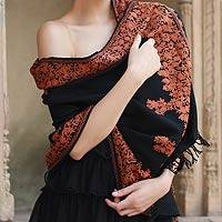 Wool shawl, 'Rust Floral Drama' - Wool shawl