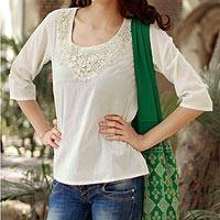 Cotton tunic, 'Pristine Princess Petals' - Women's Floral Cotton Embroidered Off White Top from India