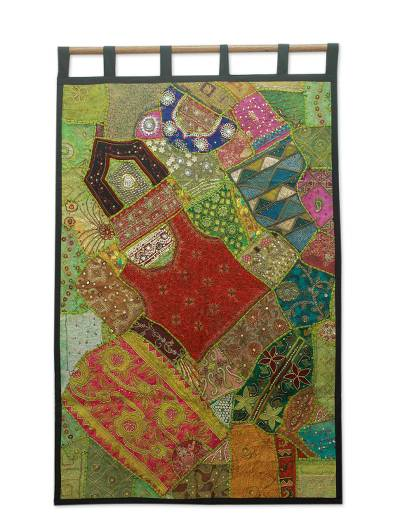 Cotton wall hanging, 'Jewels of Gujarat' - Fair Trade Gujarati Cotton Wall Hanging from India