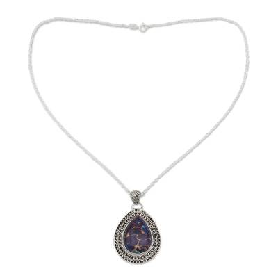 Purple Turquoise Necklace with Sterling Silver from India