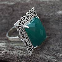 Sterling silver cocktail ring, India Green