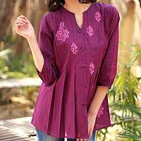 Beaded cotton blouse, 'Magenta Blush' - Beaded Cotton Tunic Blouse Block Printed by Hand