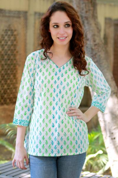 Womens cotton tunic, Jaipur Fantasy