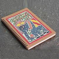 Madhubani journal, 'Royal Elephant' - Madhubani painting journal