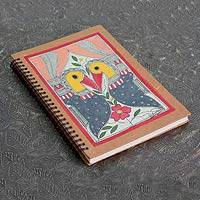 Madhubani journal, 'Peacock Kiss'