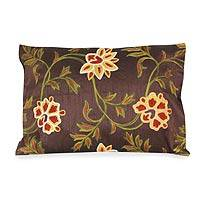Embroidered cushion cover, 'Chocolate Geraniums' - Embroidered cushion cover