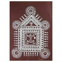 Warli painting, 'Worship Place' - Warli painting