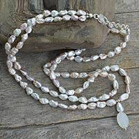 Cultured pearl and moonstone necklace, 'Perfect Peach' - Cultured pearl and moonstone necklace