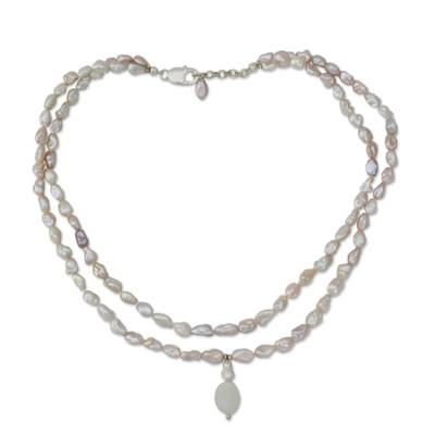 Cultured pearl and moonstone necklace