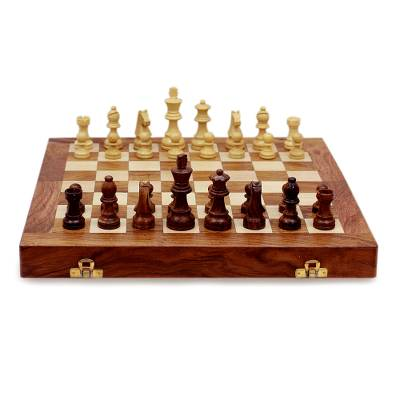 Wood chess set, 'Test of the Mind' - Wood chess set
