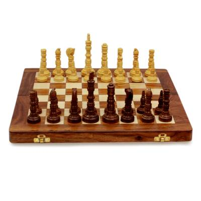 Wood chess set, 'Battle of the Mughals' - Wood Chess Set Folding Board with Storage from India