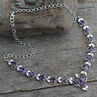 Amethyst Y necklace, 'Delhi Garden' - Amethyst Y necklace