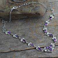 Amethyst Y necklace, 'Mumbai Garden' - Amethyst Y necklace