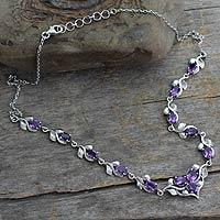 Amethyst Y necklace,