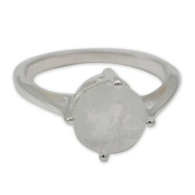 Fair Trade Sterling Silver Single Stone Moonstone Ring