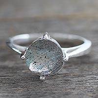 Labradorite solitaire ring, 'India Enthusiasm' - Labradorite Solitaire Ring in Sterling Silver from India