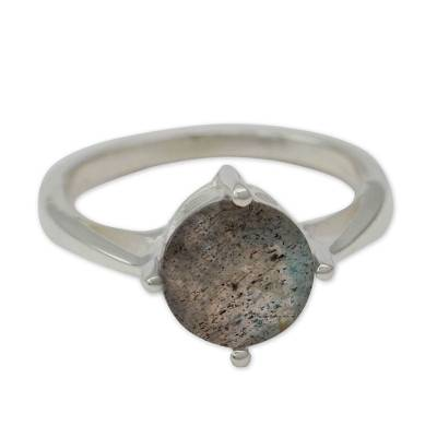 Labradorite Solitaire Ring in Sterling Silver from India