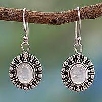 Moonstone dangle earrings, 'Mughal Aura' - Moonstone dangle earrings