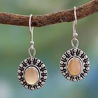 Peach moonstone dangle earrings, 'Mughal Aura' - Unique Sterling Silver and Moonstone Dangle Earrings