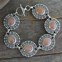 Peach moonstone link bracelet, 'Mughal Aura' - Indian Sterling Silver Moonstone Link Bracelet