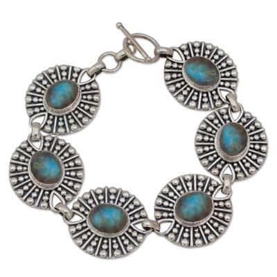Hand Made Sterling Silver and Labradorite Link Bracelet