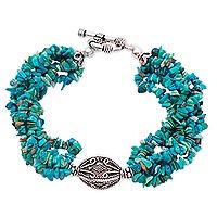 Turquoise torsade bracelet, 'In Friendship' - Turquoise torsade bracelet