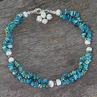 Turquoise and cultured pearl anklet, 'Song of Summer' - Turquoise and Pearl Anklet