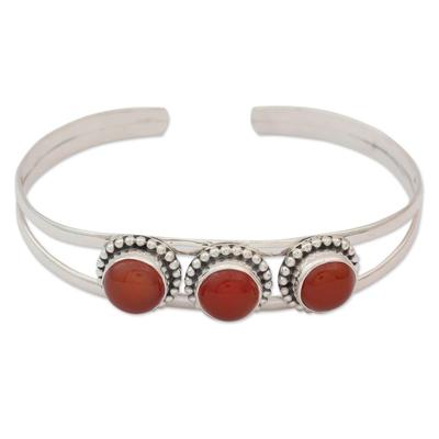 Sterling Silver and Carnelian Cuff Bracelet