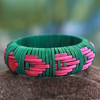 Handcrafted rattan bangle bracelet, 'Pink Arrows' (India)