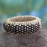 Handcrafted rattan bangle bracelet, 'Checkerboard' - Handcrafted rattan bangle bracelet