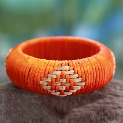 Handcrafted rattan bangle bracelet, 'Indian Sun' - Hand Crafted Natural Fiber Bangle Bracelet
