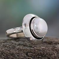 Cultured pearl cocktail ring, 'Jaipur Magic Moon' - India Women's Sterling Silver Single Stone Pearl Ring