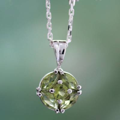 Peridot pendant necklace, 'Star of India' - Natural Peridot Jewelry Sterling Silver Necklace